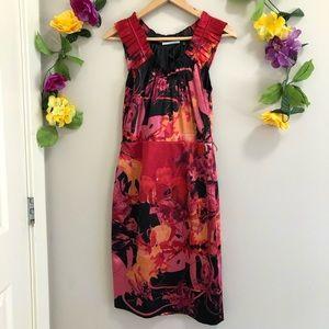T Tahari Satin Abstract Floral Pattern Dress